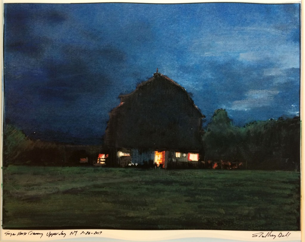painting of a barn at twilight