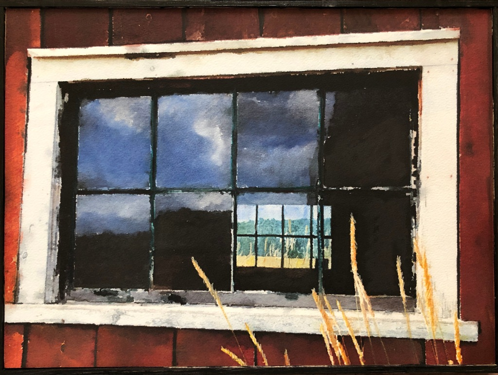 painting of a barn window in Orwell Vermont