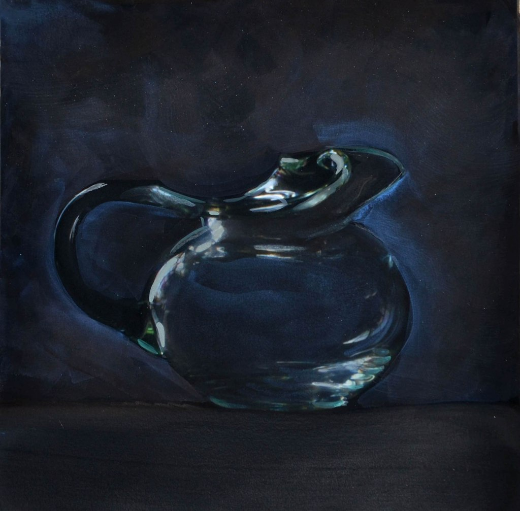 dark painting of a clear glass pitcher