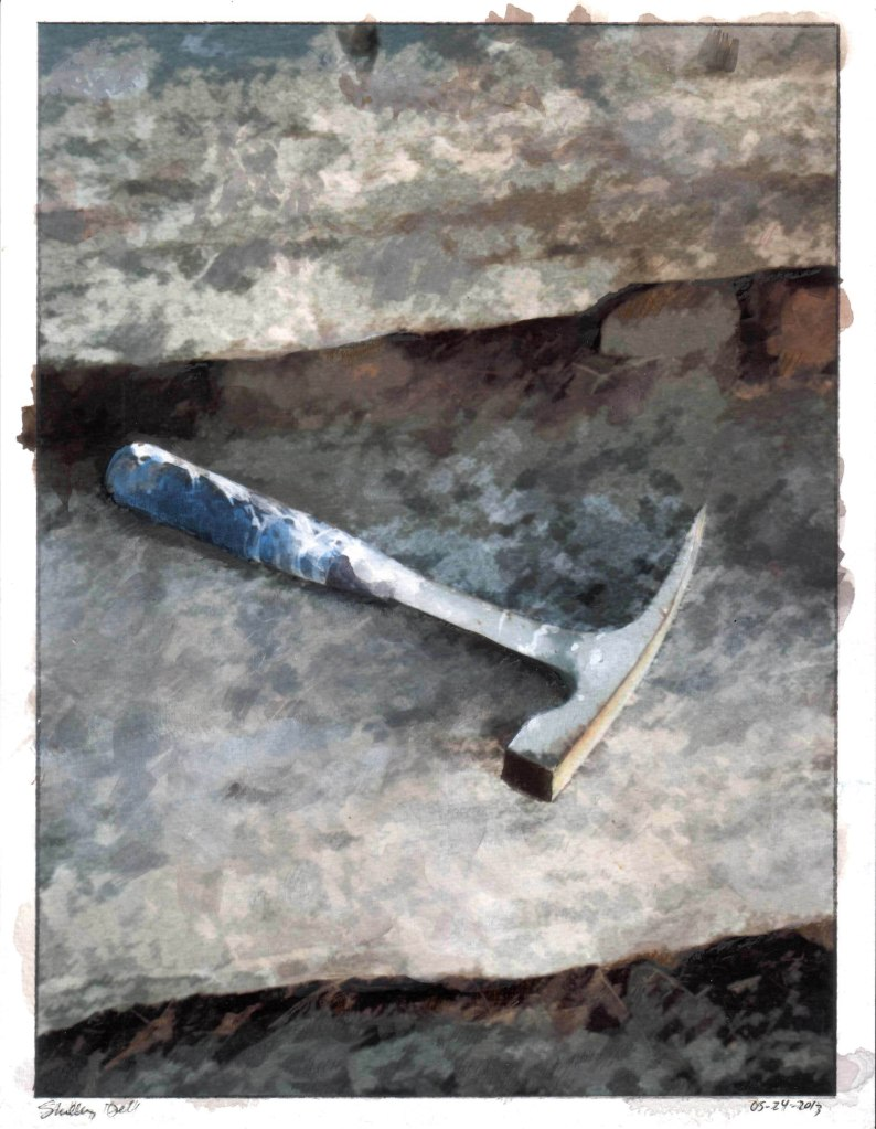water color painting of a masonry hammer