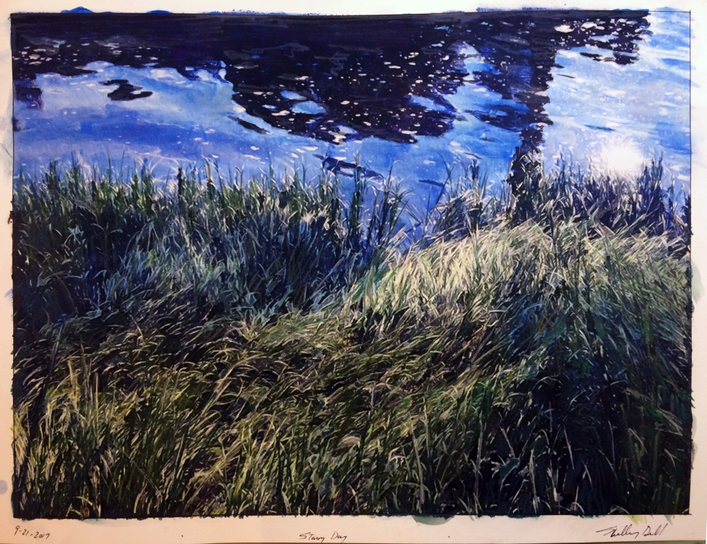 sun on grass and water painting
