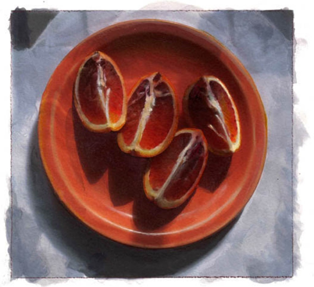 painting of sliced blood orange on an orange plate