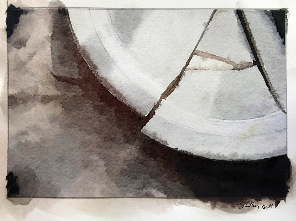 watercolor of a broken plate