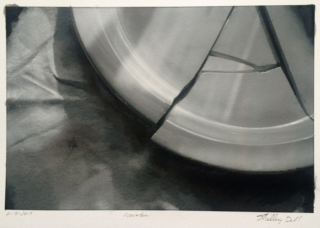 realistic black and white painting of a broken plate