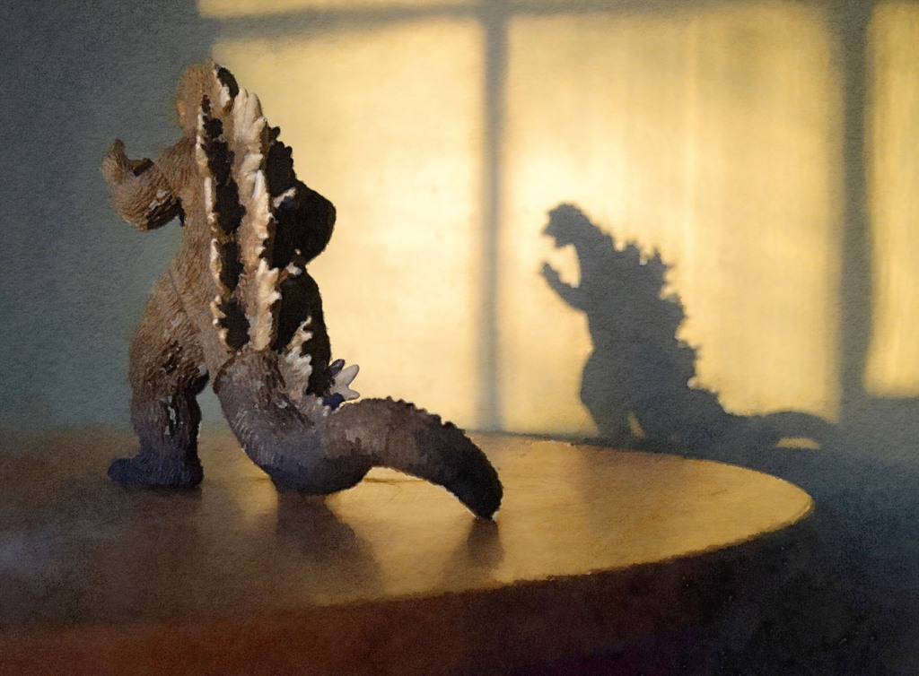 shadow of Godzilla, Godzilla on table