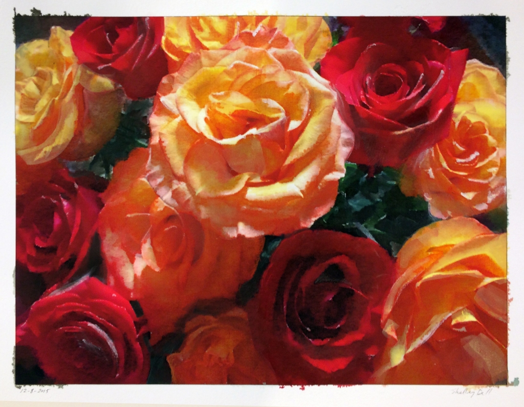 realistic watercolor painting of bright roses