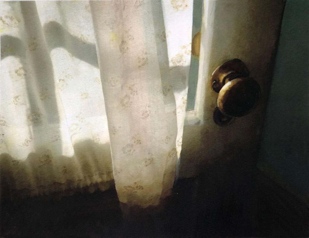 painting of brass door knob and curtains door is opening