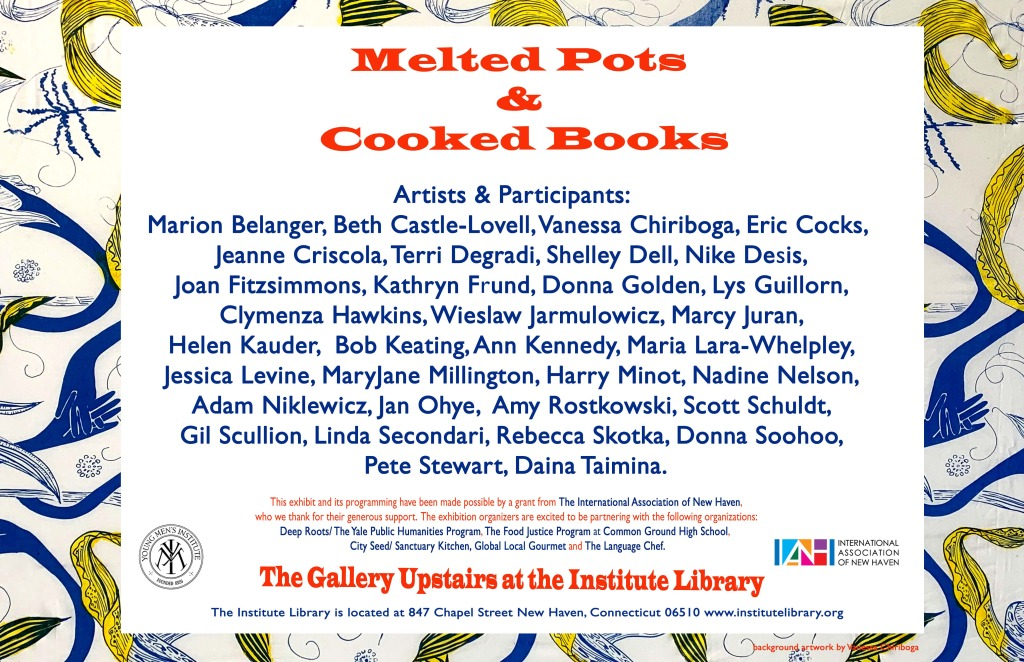 melted pots & cooked books artist list, postcard