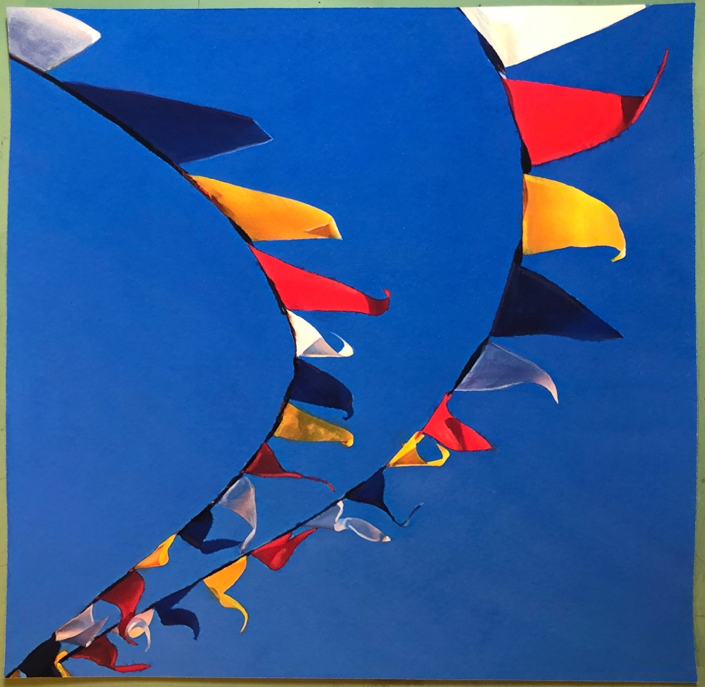 painting of colorful pennants in the wind