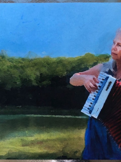 watercolor portrait of Linda Piuatti playing at accordion