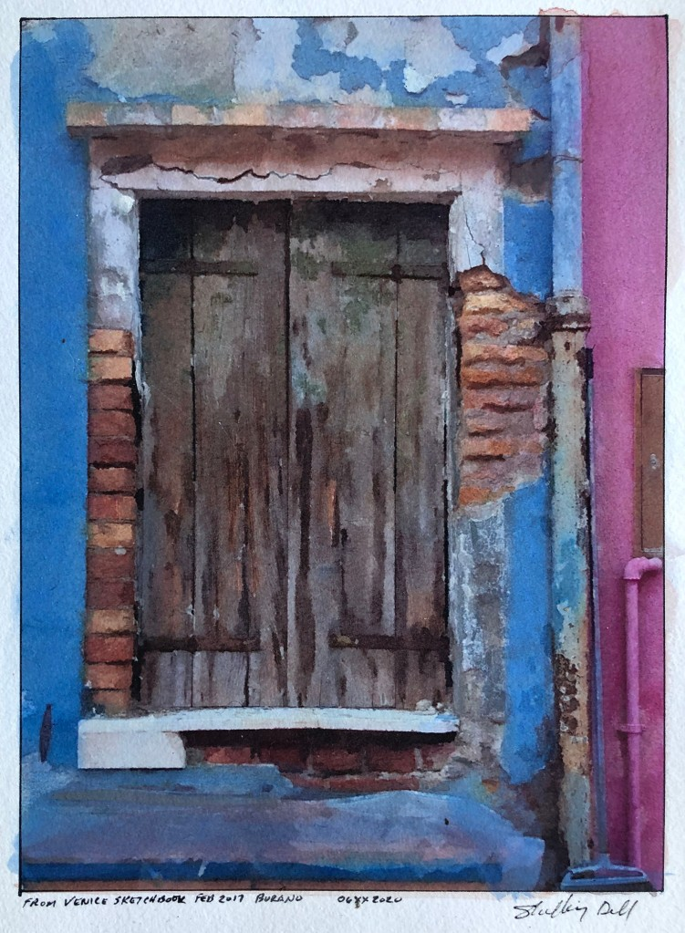 weathered colorful window Burano Italy