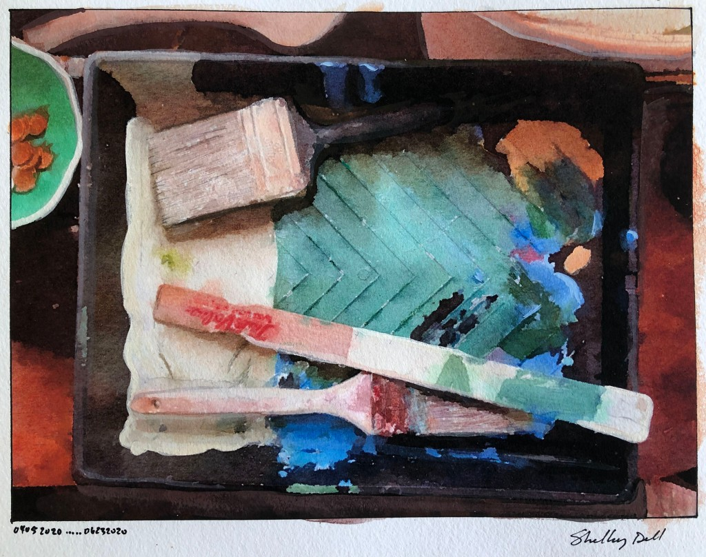 paint tray and brushes